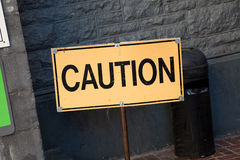 Caution sign. Yellow Caution sign close up Stock Images