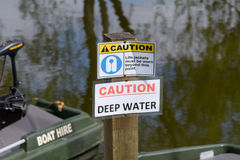 Caution signs besides river Royalty Free Stock Images