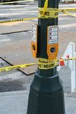 Caution signs at NYC street pole Royalty Free Stock Photos