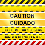 Caution signs and police tape - vector vector illustration