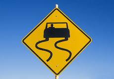 Caution Slippery Road Sign Stock Photo