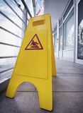 Caution slippery surface sign Royalty Free Stock Photos