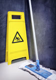 Caution slippery surface sign Stock Photography
