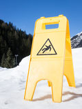 Caution slippery surface sign Stock Photos