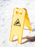 Caution slippery surface sign Royalty Free Stock Image