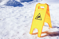 Caution slippery surface sign Royalty Free Stock Images