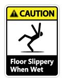 symbol Caution Slippery When Wet Sign on white background royalty free illustration