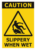 Caution Slippery When Wet Text Sign, Black Yellow Isolated Floor Surface Area Danger Warning Triangle Safety Icon Signage, Large. Detailed Sticker Label Macro Royalty Free Stock Photo