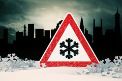 Caution Snow Royalty Free Stock Image