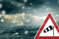 Caution Snowstorm - Warning Sign Royalty Free Stock Images