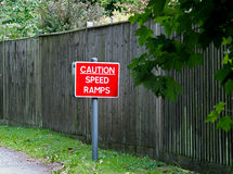 Caution Speed Ramps Road Sign Royalty Free Stock Photos