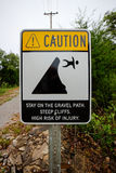 Caution Steep cliffs Stock Photos