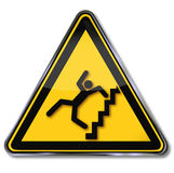 Caution steep stairs and fall risk Stock Images
