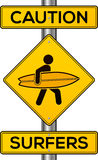 Caution surfers vector yellow road sign Royalty Free Stock Image