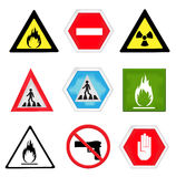 Caution symbols set Stock Photo