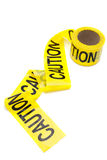Caution tape. Roll of caution tape, isolated on white, copy space royalty free stock images