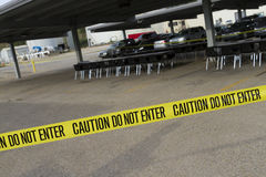Caution Tape Across Parking Lot Royalty Free Stock Photos