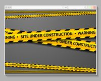 Caution tape in browser with words - Site Under Stock Photo