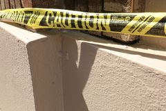 Caution Tape at Construction Site stock photography