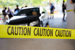Caution tape for crime scene. Caution tape protect crime scene of vehicle royalty free stock image