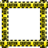 Caution tape frame. Caution tape on white background stock photos