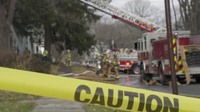 Caution Tape Near a Fire Truck (1 of 3) stock video footage