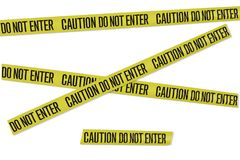 Caution Tape Near Tables Outdoors Stock Photos