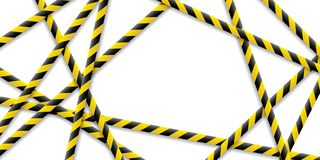 Caution tape, police line and danger tapes are crossed, all sealed, do not pass, do not cross. Vector. vector illustration