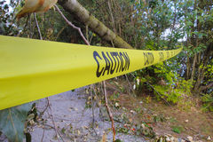 Caution Tape. Strong winds have toppled a tree that has fallen across a walking path where caution tape has been hung to warn pedestrians Royalty Free Stock Photo