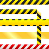 Caution tape and warning signs in seamless vector royalty free illustration