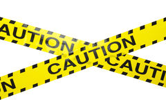 Caution Tape. Yellow Caution Crime Sceen Tape Criss Crossed Isolated on a White Background Stock Photos