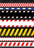 Caution tapes, seamless strip. Warning line Royalty Free Stock Images