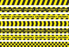Caution tapes. Set of caution tapes. For restriction and dangerous zones. Yellow and black Royalty Free Stock Images