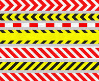 Caution Tapes and Warning Signs, SEAMLESS Stripes. Set of Caution Tapes and Warning Signs, SEAMLESS Strip, Old Metal Textured Stock Images