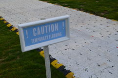 Caution temporary flooring sign. Stock Image