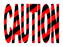 Caution text with stripes Royalty Free Stock Image