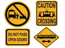 Caution tram signs Royalty Free Stock Photography
