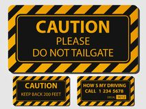 Caution truck signs on a grey background. Caution truck signs  illustration Stock Image
