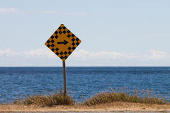 Caution, turn Right, Amherst Island, Ontario Stock Images