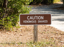 Caution Venomous Snakes Warning Sign Stock Photos