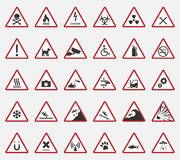 Caution icons, warning signs. Caution warning signs and icons, danger banner Stock Photo