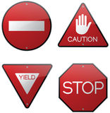 Caution Warning Stop Signs. Red caution warning do not enter stop road signs Stock Photo