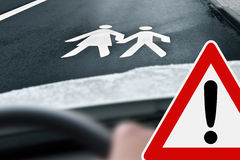 Caution - Way to School Stock Image