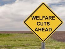 Caution - Welfare Cuts Ahead. Caution Sign - Welfare Cuts Ahead stock photo