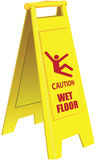 Caution Wet Floor. Folding a signal of a slippery field in public areas. Vector illustration Stock Photography