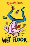 Caution wet floor. Comic cartoon pop art retro vector illustration drawing stock illustration