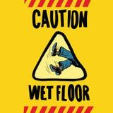 Caution wet floor feet men Stock Image