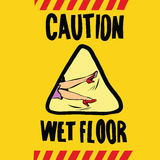 Caution wet floor female feet Royalty Free Stock Images