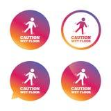 Caution wet floor icon. Human falling symbol. Royalty Free Stock Photos