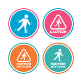 Caution wet floor icons. Human falling signs. Royalty Free Stock Photography